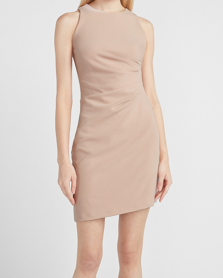 Express Pleated Side Sleeveless Sheath Dress