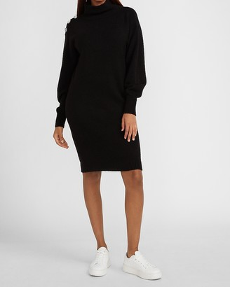 Express Mock Neck Crystal Embellished Sweater Dress