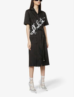 Off-White Tokyo logo-print belted satin-crepe midi dress