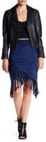 En Creme Suede Fringe Skirt