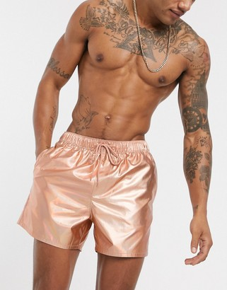 Asos Design DESIGN swim short in metallic rose gold short length