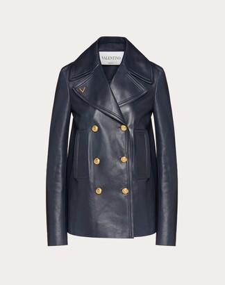 Valentino Gold V Leather Pea Coat Women Navy 100% Lambskin 38