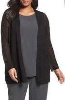 Eileen Fisher Plus Size Women's Organic Linen Blend Crepe Knit Cardigan