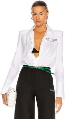 Off-White Popeline Shoulder Pad Shirt in White & Black | FWRD