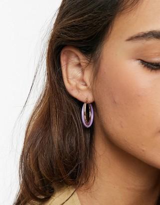 ASOS DESIGN hoop earrings in interlocking pink lilac and gold tone