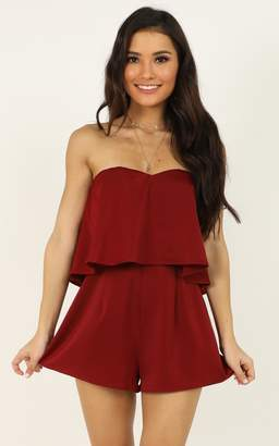 Showpo Your Smile Is Like A Breath Of Spring Playsuit in wine - 4