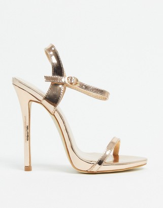 BEBO barely there heeled sandals in rose gold