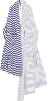 ADAM by Adam Lippes Asymmetric Striped Cotton-poplin Top - White