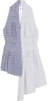 ADAM by Adam Lippes Asymmetric Striped Cotton-poplin Top - White