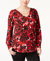 NY Collection Plus Size Printed Chain-Trim Top