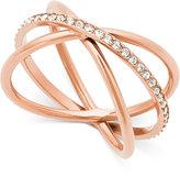 Michael Kors Rose Gold-Tone Pavé Crisscross Statement Ring
