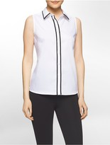 Calvin Klein Non-Iron Contrast Edge Sleeveless Cotton Shirt
