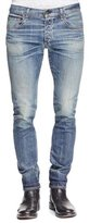 Rag & Bone Standard Issue Fit 2 Mid-Rise Relaxed Slim-Fit Jeans, Medium Blue Distressed Worn