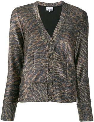 Ganni Animal Print Cardigan