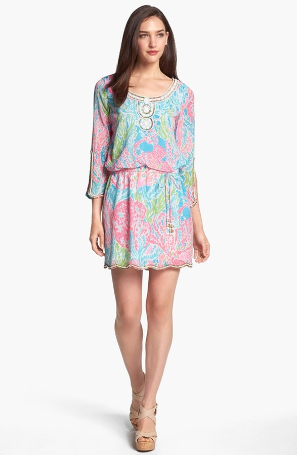 Lilly Pulitzer 'Delisa' Embellished Print Tunic Dress