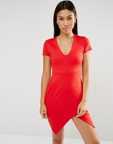 Club L Ponte V Neck Aysmmetric Hem Detail Dress
