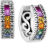 Effy Watercolors by Multi-Sapphire (1-5/8 ct. t.w.) and Diamond (1/6 ct. t.w.) Huggy Earrings in 14k White Gold