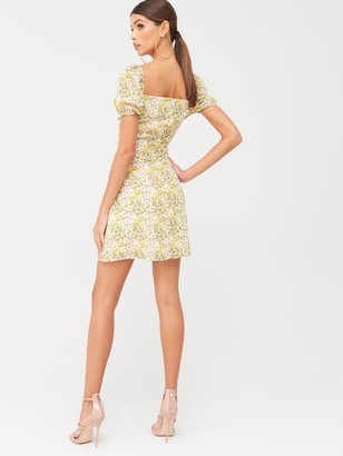 Missguided Floral Spot Print Square Neck Mini Dress - Yellow