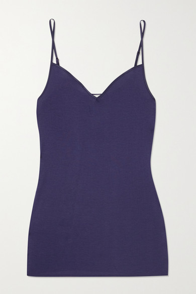 Thumbnail for your product : Hanro Satin-trimmed Mercerized Cotton Camisole - Navy