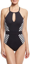LaBlanca La Blanca Mime Games Striped-Side High-Neck One-Piece Swimsuit, Black/White