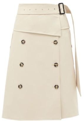Proenza Schouler Belted Panelled-twill Midi Skirt - Beige
