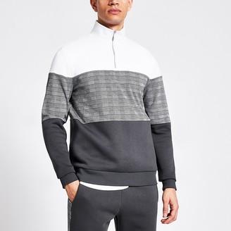 River Island Grey check blocked half zip slim sweatshirt