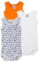 Petit Bateau Pack of 3 baby boy sleeveless bodysuits
