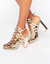 London Rebel Caged Block Heeled Sandal