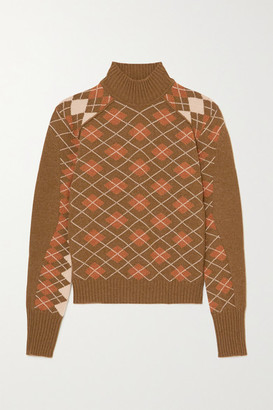 Chloé Argyle Wool And Cashmere-blend Turtleneck Sweater - Brown