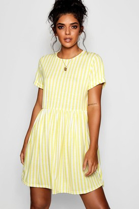 boohoo Striped Gathered Waist Smock Dress