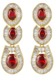 A&M A & M Gold-Tone Ruby Accent Tribal Drop Earrings