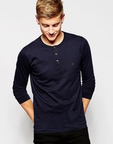 French Connection Long Sleeve Henley Top - Navy