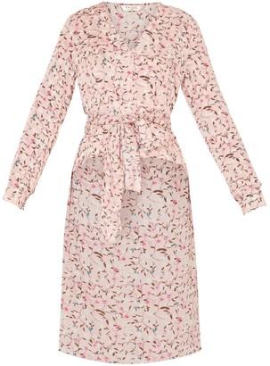 Paisie Floral Blouse With Dip Hem & Waist Tie In Pink Floral