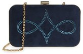 Menbur Crystal Embellished Suede Clutch - Blue