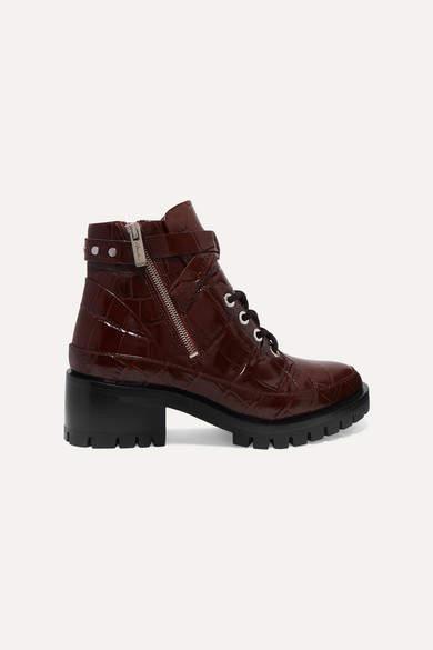 3.1 Phillip Lim Hayett Croc-effect Leather Ankle Boots - Burgundy