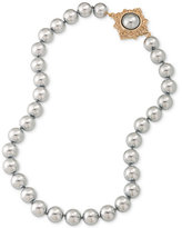 Carolee Gold-Tone Gray Imitation Pearl Collar Necklace