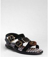 Hogan black patent leather 'Button' flat sandals
