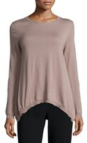 Peserico Long-Sleeve Handkerchief-Hem Wool Top, Mauve
