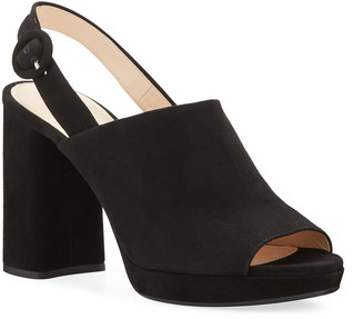 Prada Suede Chunky-Heel Slingback Sandals