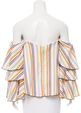 Caroline Constas Striped Off-The-Shoulder Top
