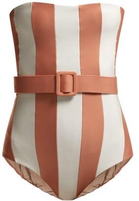 Adriana Degreas Porto Striped Strapless Swimsuit - Womens - Pink White