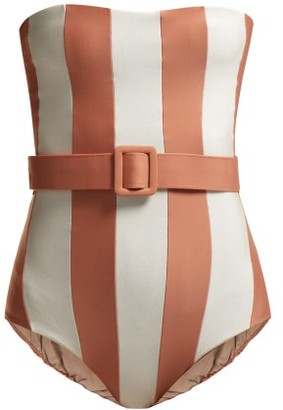 Adriana Degreas Strapless Striped Swimsuit - Womens - Pink White