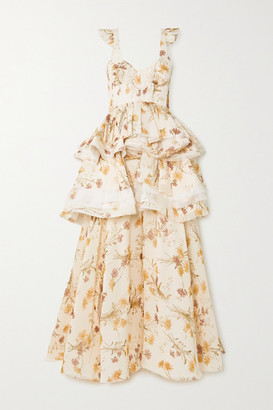 Brock Collection Ruffled Frayed Floral-print Silk Gown - White