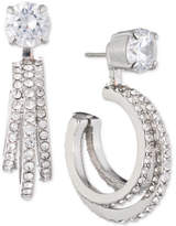 Carolee Silver-Tone Crystal Triple-Hoop Jacket Earrings