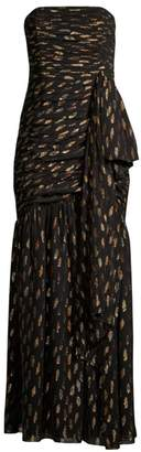 Shoshanna Samira Metallic Polka Dot Strapless Gown