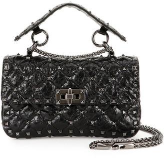 Valentino Garavani Rockstud Quilted Shrunken Leather Shoulder Bag