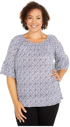 MICHAEL Michael Kors Size Paisley Geo Gathered Peasant (Black/White) Women's Clothing