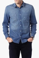 7 For All Mankind Work Wear Shirt In Authentic Indigo