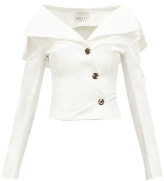 A.W.A.K.E. Mode Off-the-shoulder Buttoned Cotton Top - Cream