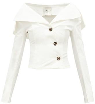 A.W.A.K.E. Mode Off-the-shoulder Buttoned Cotton Top - Cream
